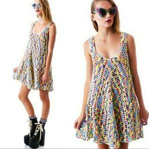 UNIF Crocheted Rainbow Mini Celeste Dress